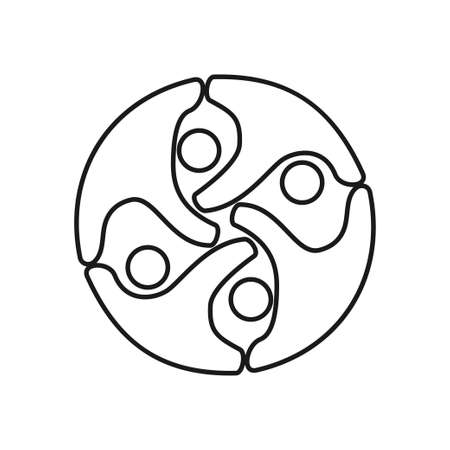 people rotation Commitment Teamwork Together Outline Logo