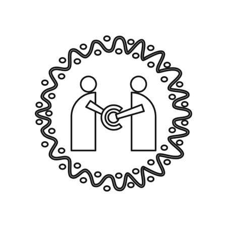 circle rotation Commitment Teamwork Together Outline Logo