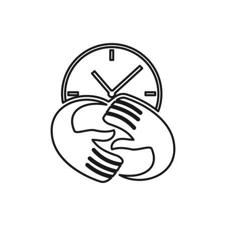 time hand rotation Commitment Teamwork Together Outline Logo