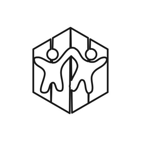 People Commitment Teamwork Together Outline Logo vector