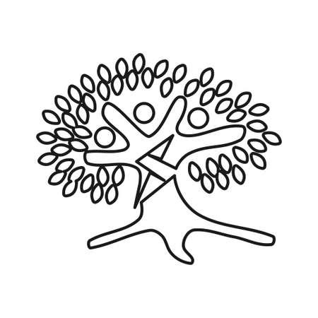 Tree Bolt Commitment Teamwork Together Outline Logo 일러스트