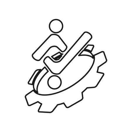 Gear checklist people Commitment Teamwork Together Outline Logo 일러스트