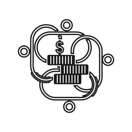 stack money Commitment Teamwork Together Outline Logo