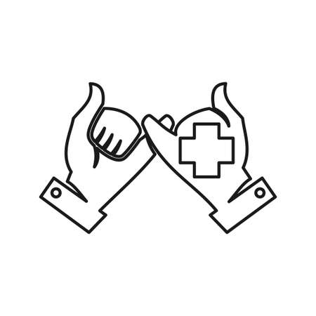 Cross Health Commitment Teamwork Together Outline Logo