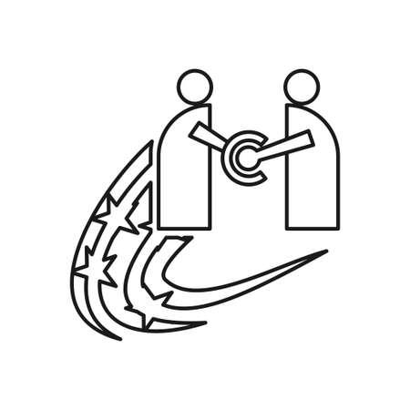 Star Swash Commitment Teamwork Together Outline Logo
