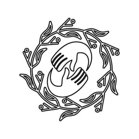 leaf hand rotation Commitment Teamwork Together Outline Logo 일러스트