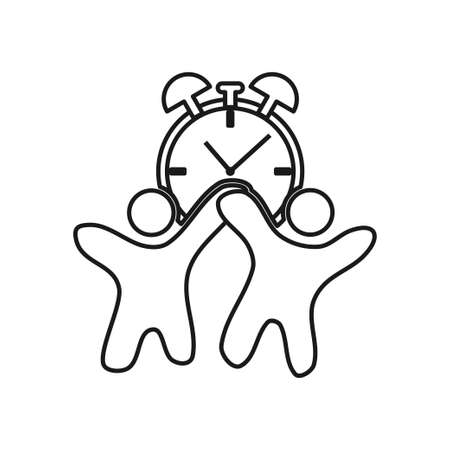 Time Watch people Commitment Teamwork Together Outline Logo 일러스트