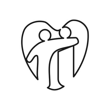 Love Heart Commitment Teamwork Together Outline Logo 일러스트