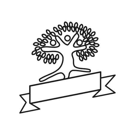 Tree Ribbon Commitment Teamwork Together Outline Logo 일러스트