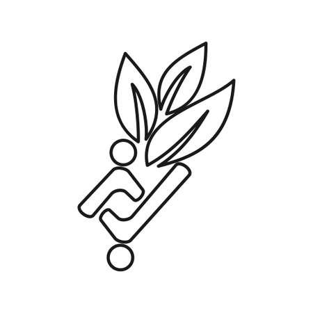 leaf farming people Commitment Teamwork Together Outline Logo