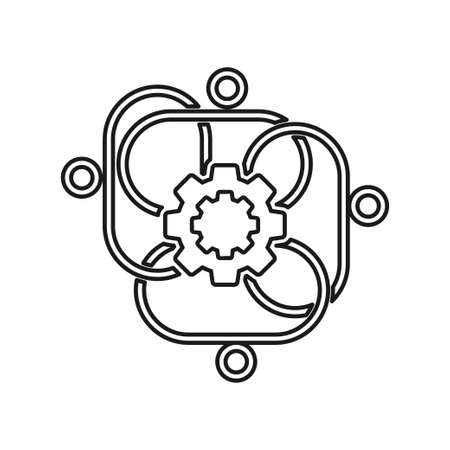 gear Connection Commitment Teamwork Together Outline Logo