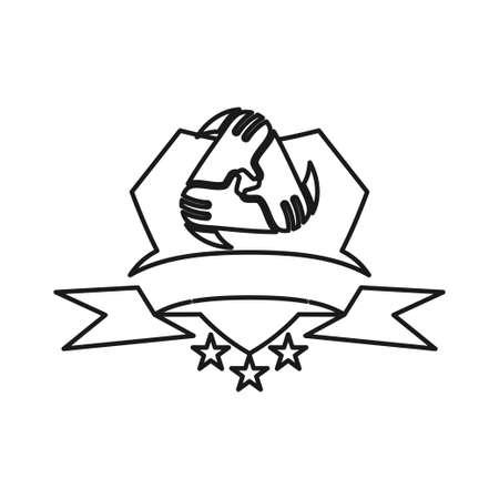 Ribbon Shield Star Commitment Teamwork Together Outline Logo