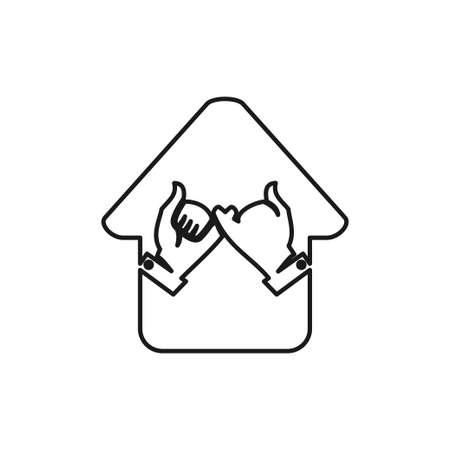 Home hand Commitment Teamwork Together Outline Logo 일러스트