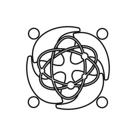 Technology Atom Commitment Teamwork Together Outline Logo 일러스트