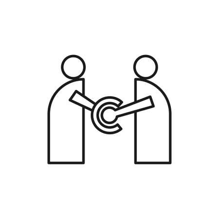 People handshake Commitment Teamwork Together Outline Logo