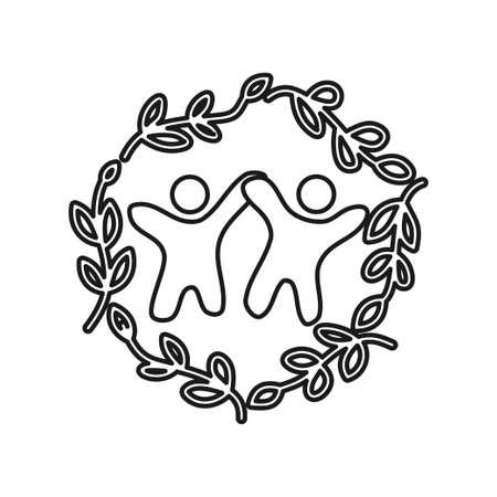 leaf rotation Commitment Teamwork Together Outline Logo