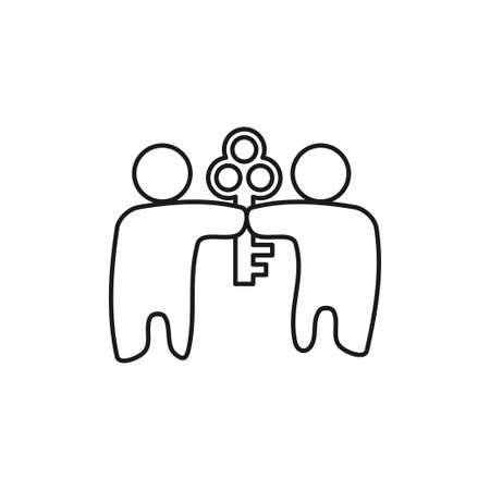 Key People Commitment Teamwork Together Outline Logo 일러스트