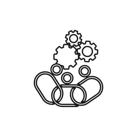 Gears Connection Commitment Teamwork Together Outline Logo  イラスト・ベクター素材