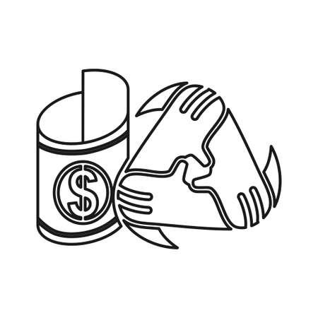 Money Roll Commitment Teamwork Together Outline Logo 일러스트