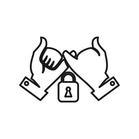 Lock Secure Commitment Teamwork Together Outline Logo