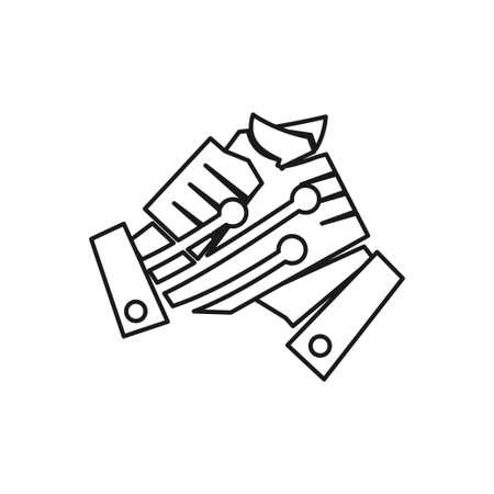 Technology Handshake Commitment Teamwork Together Outline Logo