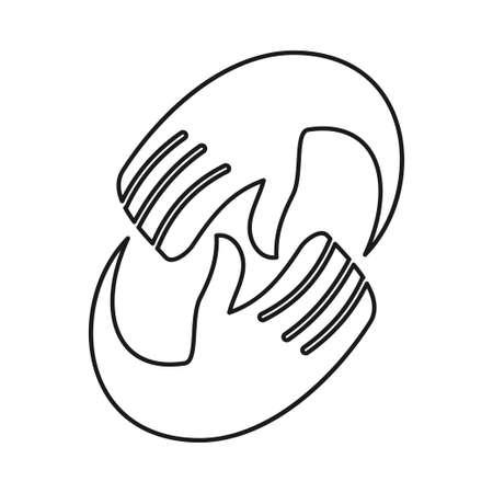 Hand Rotation Commitment Teamwork Together Outline Logo