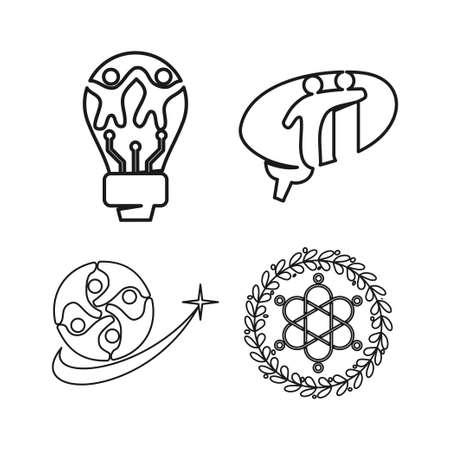 bulb brain leaf Commitment Teamwork Together Outline Logo