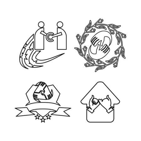 shield home star leaf Commitment Teamwork Together Outline Logo