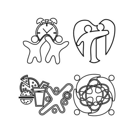 love time food Commitment Teamwork Together Outline Logo