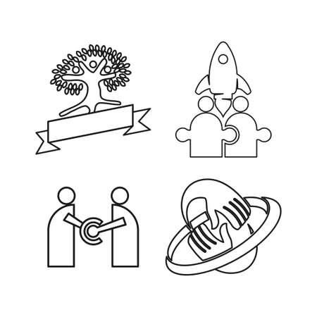 rocket tree ribbon Commitment Teamwork Together Outline Logo