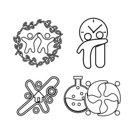 time leaf laboratory Commitment Teamwork Together Outline Logo