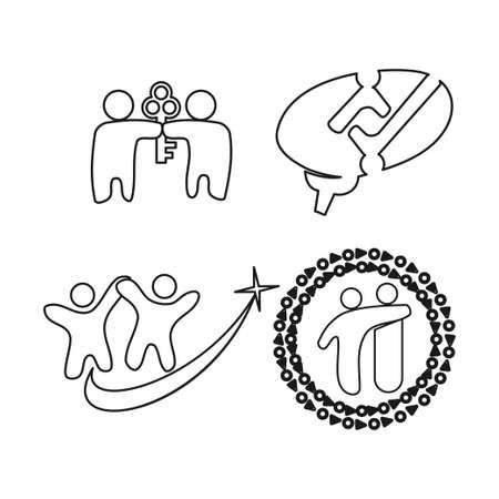 key brain star Commitment Teamwork Together Outline Logo