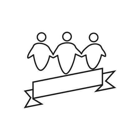 ribbon blank Commitment Teamwork Together Outline Logo vector