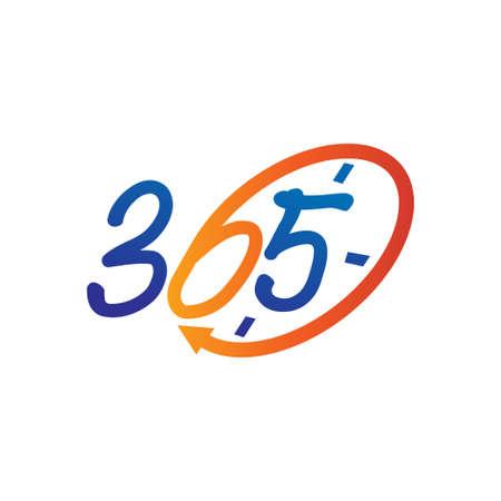 time emblem 365 infinity logo icon design illustration vector