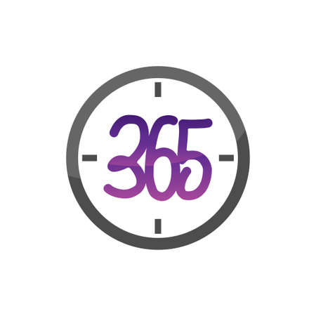 time watch 365 infinity logo icon design illustration vector