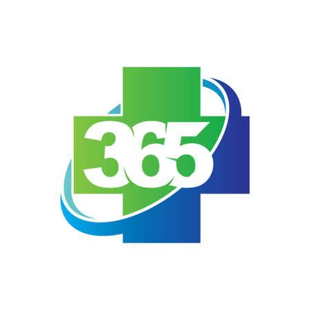 Health cross 365 infinity logo icon design illustration vector