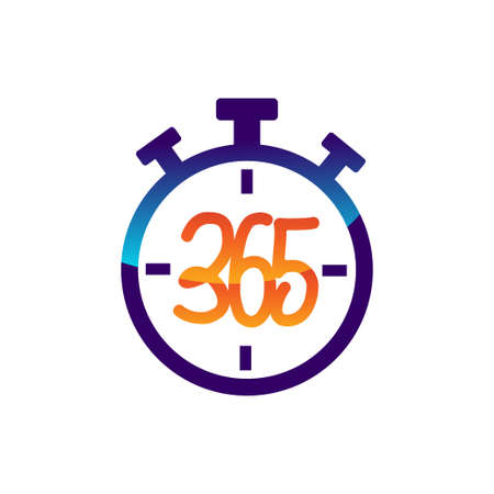 stopwatch 365 infinity logo icon design illustration vector  イラスト・ベクター素材