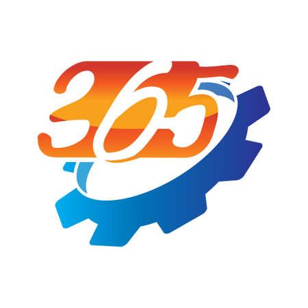 gear machine 365 infinity logo icon design illustration vector