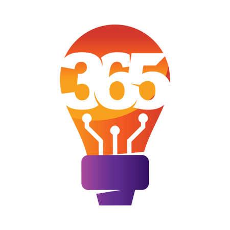 bulb idea 365 infinity logo icon design illustration vector