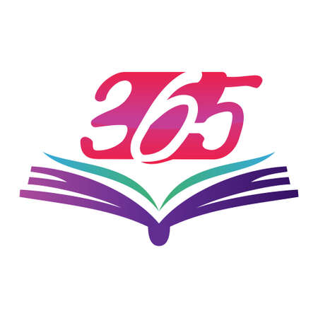 book open 365 infinity logo icon design illustration vector Çizim