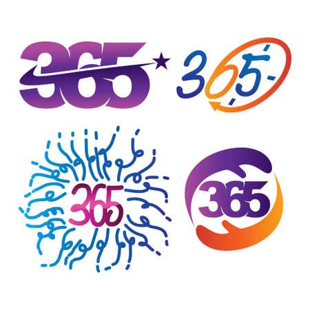 star time hand anniversary 365 infinity logo icon illustration Çizim