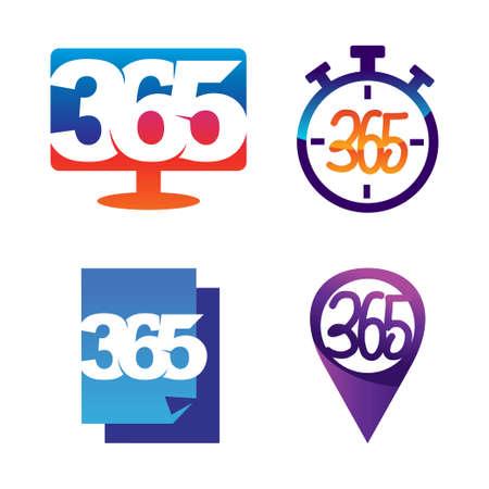 monitor time paper pin 365 infinity logo icon design illustration