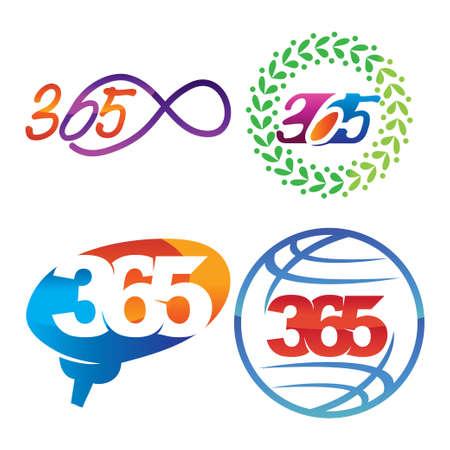 leaf brain world 365 infinity logo icon design illustration