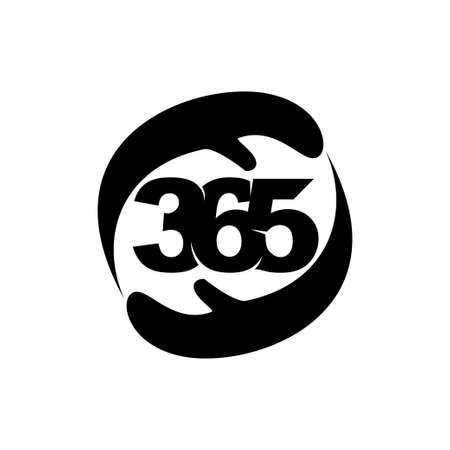 hand care 365 infinity logo icon design illustration black Çizim
