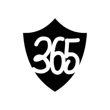 shield protection 365 infinity logo icon design illustration black