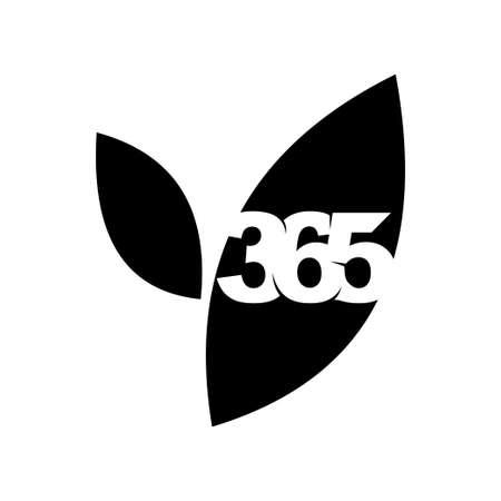 leaf farm 365 infinity logo icon design illustration black Çizim