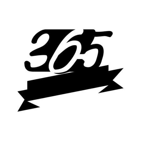 ribbon empty 365 infinity logo icon design illustration black