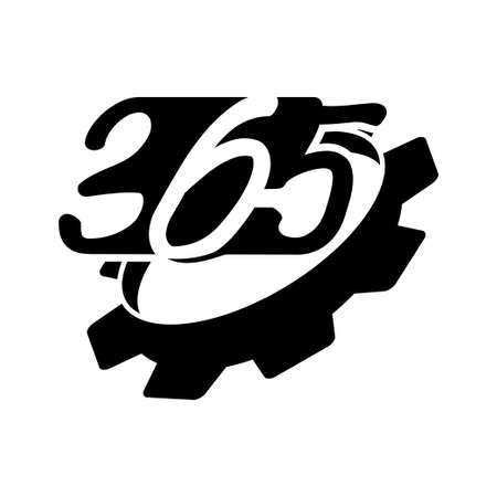 gear machine 365 infinity logo icon design illustration black