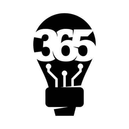 bulb idea 365 infinity logo icon design illustration black