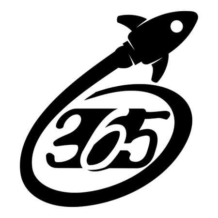 Rocket speed 365 infinity logo icon design illustration black